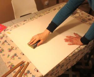 Sanding also helps to release that thrift store smell from the art into your home.