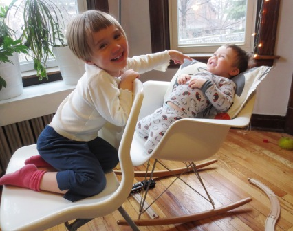 "My kids put the ""knock-off"" in my Knock-Off Eames Rocker"