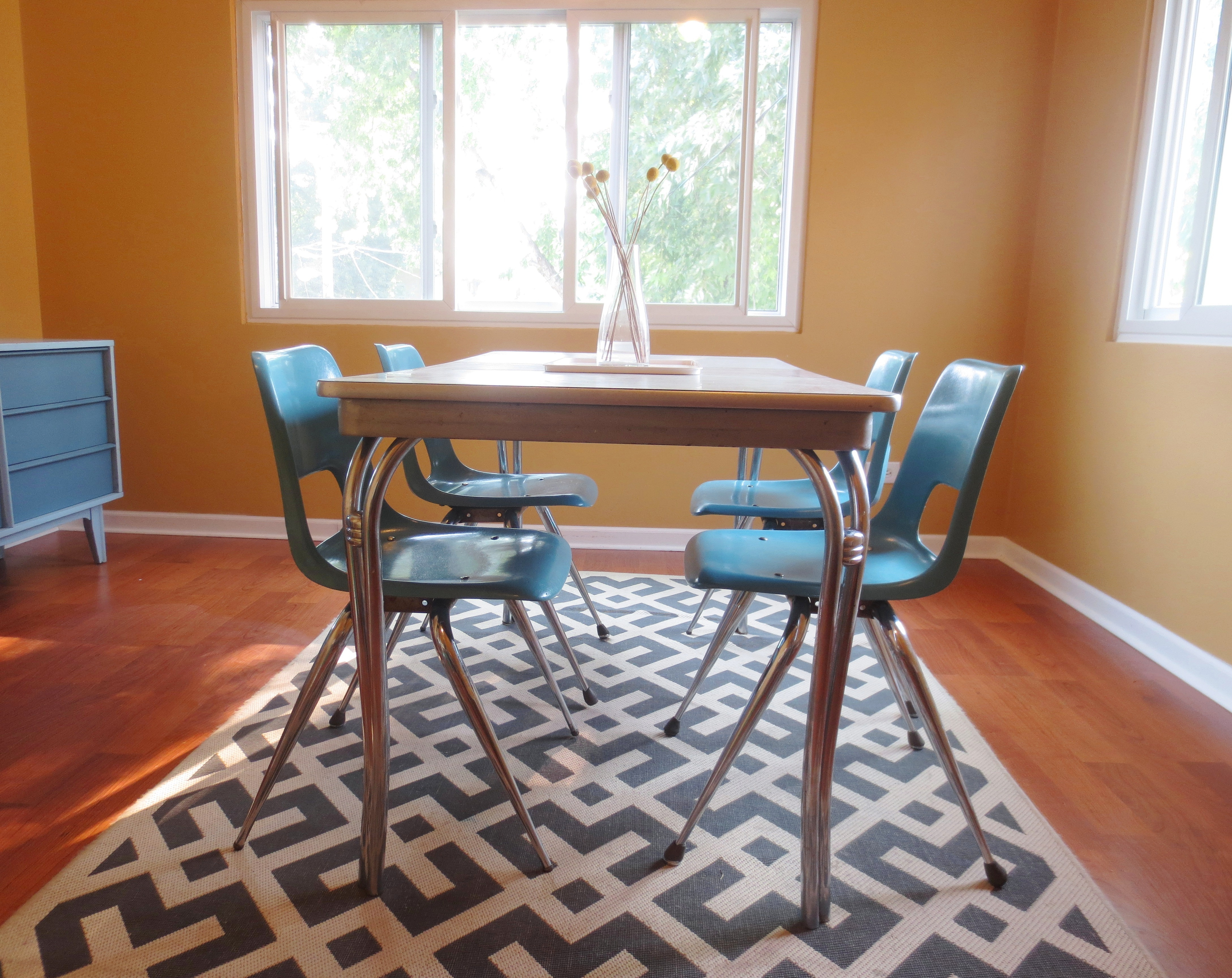 From bowling alley to dining room refinishing fiberglass for Refinishing dining room chairs
