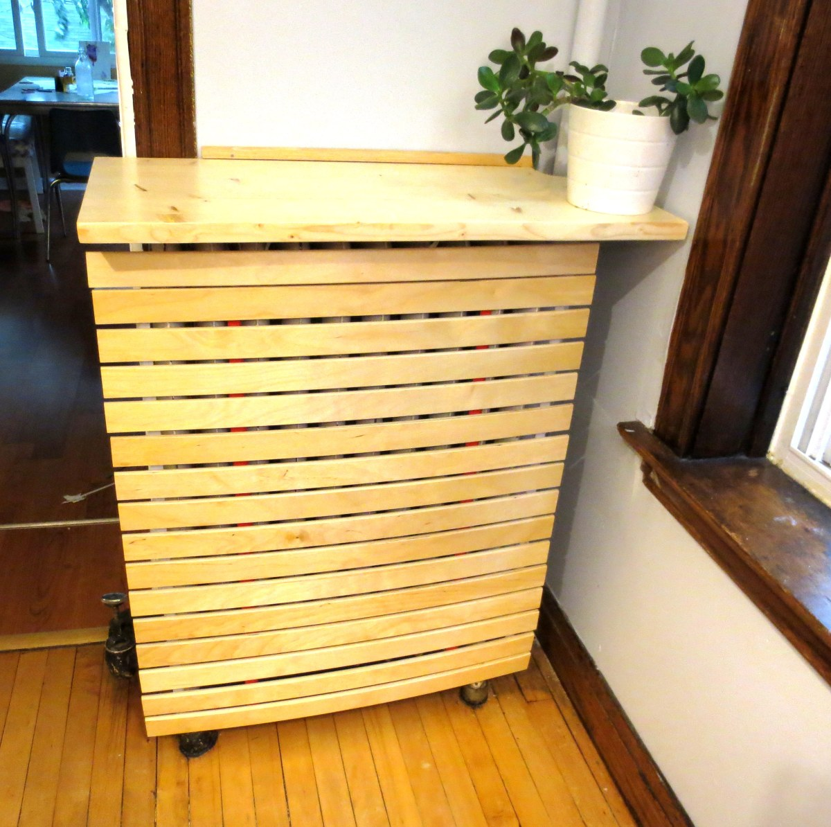 Rusty Victorian to Danish Modern: Cover your Radiator with Old IKEA Bed Slats